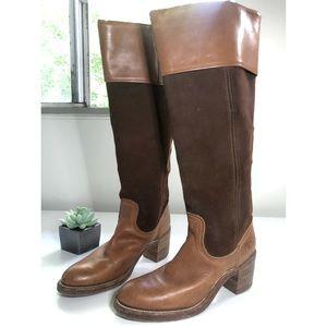 VINTAGE FRYE Leather & Suede Brown Knee High Boots
